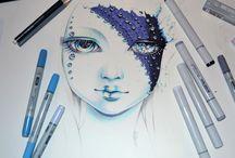 tuhaf kız çizimleri