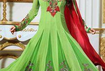 Juhi Chawla Anarkali Churidar Suits / Bollywood Anarkali Style with thread work and patchwork on ghera
