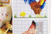 Chickens and Roosters Cross Stitch Charts