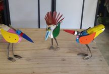 Birds made from garden stake