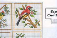 pájaros punto cruz