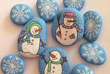Stenen beschilderen voor kerst