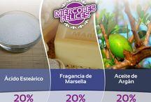 Miércoles Felices / Todos los miércoles aplicamos descuentos en diferentes productos para la elaboración de jabones y cosmética natural