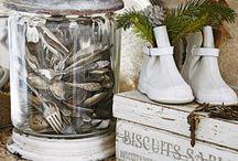 vintage cutlery & crockery display