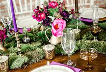 Table Setting / Flower centerpieces, Candles, Linens, Chairs