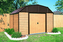 Arrow Woodhaven Series Storage Sheds / The look of wood-grain with a barn style roof makes the Woodhaven one of the most Aesthetically pleasing Arrow Sheds. Two sizes are available for almost any storage needs a 10' x 9' and a 10' x 14'