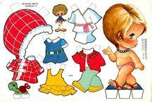 niños de papel con ropa
