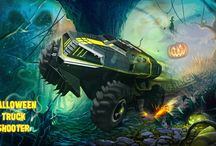 Halloween Truck Spooky Cartoon