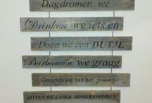 teksten op hout