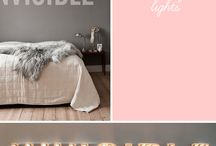 teenage girl room / 13 - ... yrs. grey brick walls. pink/orange/beige pastel accents. lots of satin pillows. industrial chic. vintage furniture. owl bookends.