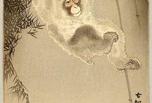 Ohara Koson (1877-1945) - monkeys / Ohara Koson (1877 - 1945) to japoński malarz i grafik, który tworzył na przełomie XIX i początku XX wieku. Stworzył kilka drzeworytów ilustrujących epizody wojny rosyjsko-japońskiej, ale większość jego prac to przedstawienia zwierząt. Pracował z wydawcami Akiyama Buemon (Kokkeidō ) i Matsuki Heikichi (Daikokuya ), podpisując swoje prace Koson. Około 1926 roku związał się z wydawcą Watanabe Shōzaburō i podpisywał się Shōson. Pracował również z wydawcą Kawaguchi, podpisując swoje prace Hōson .