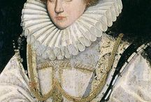 Ladies' Hair - Elizabethan / From the simpler styles of the Tudor/Renaissance era to the larger, stiffer styles. Characterized by symmetry, no part, curls or frizziness, volume framing the face. Red hair was very much in vogue.