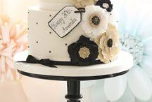 black white cakes