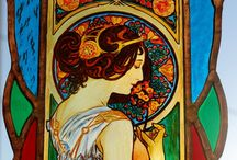 Alphonse Mucha, Hand-made Stained Glass / This window-pane is handmade by time-honoured art technique when glass components are connected by lead sections.