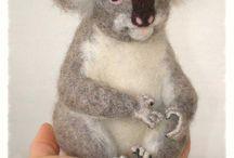 needle felted bear, panda, coala
