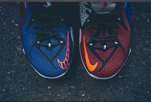 Blue red Nike shoes