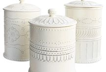 white kitchen canisters / by Sandy Stone-Cook
