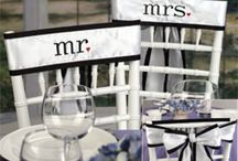 Chair Decorations / Transform drab and bare chairs into stunning wedding ceremony furniture, sweetheart table chairs, & wedding reception banquet chairs with chair sashes, chair covers, chair pads in assorted colors and fabrics.   Add chalkboard signs for wedding chairs, hang burlap Mr. & Mrs. signs, or slip an organza bow for a complimenting style to your wedding theme!