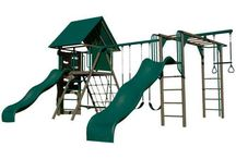 Lifetime Backyard Playground and Monkey Bars / Lifetime Products manufacturers some of the most colorful and durable backyard playground equipment including dome climbers, monkey bars, slides, trapeze bars, rockclimbing walls, and swing sets. They are a significant step up above wooden playgrounds since there is no maintenance. They are also very child friendly keeping in mind safety and pinch zones from the chains. This board is designed to show the variety of Lifetime playground equipment.