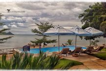 Alcon Cottages / Alcon Cottages, near Monkey Bay on the southern lakeshore of Lake Malawi. Self Catering, doubles, twins, pool, bar, restaurant, kayaking, boating.