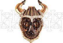"""Collection """"Between"""" Jewellery / Творческим источником коллекции являются  языческие праздники народов и культур, связанные с поминовением своих предков. Праздники, о которых идет речь, признают  наличие верхнего и нижнего мира и существования связи или «врат» между этими мирами.  Многие народы мира верят, что во время празднования «врата» между мирами открываются. Образы коллекции символизируют   состояние  открытых «врат»  между  верхним и нижним  миром. Череп является символом нижнего мира, а кокошник или шлем – верхнего."""