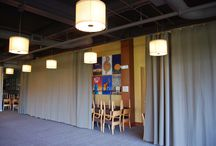 Restaurant Curtains / Restaurant curtains that use quality designer material has a sewn nylon liner to create a more rigid and opaque room divider curtain in a banquet room. An industrial track system was used to support the large curtains and provided a decorative option when mounted to structural beams. Find out how we did it http://www.amcraftindustrialcurtainwall.com/decorative-vs-industrial-curtains-bridging-dividerr/#.VKwYxXuOHEY