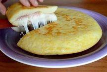 Tortilla de queso y jamon