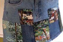 Borduurwerk recyclage / Wandkleed+jeans=rokje