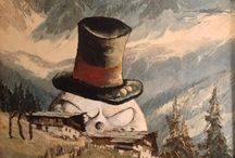 Evil Snowmen - Repurposed Thrift Art - Art with a Sense of Humor / Thrift art is sometimes missing something...in this case, it was evil snowmen.