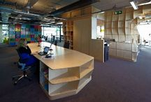 Creative office interior ideas / Office interiors with a combination of cost effective materials (particularly timber) or nice design considerations.