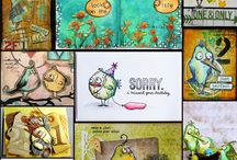 Crazy birds tim holtz / Cards and projects using these stamps