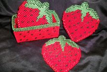 strawberry plastic canvas