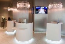 podium style reception stations