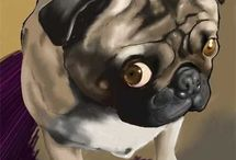 Pug Art / Amazing drawings and art of pugs by very talented people.