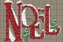 points de croix de Noël