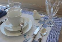 Mesa posta prato branco