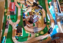 Wooden train layouts