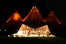Teepees at night