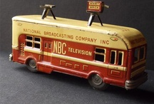 TV Vintage Bus & Car Television Tin & Diecast / TV & Camera Mounted on Toy Vehicles Buses Cars