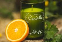 Candella candles / Candella scented soya candles made out of recycled wine bottles.