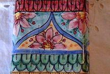 Umidificatore per termosifone/stufa in ceramica.Decoro Geo/Floris