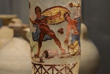 Ancient glass Roman painted glass / Roman painted glass represent a rare and elite form of ancient glassware known from only a handful of fragments found at various sites throughout the Roman Empire dating from the 1st to the 3rd century A.D. Roman painted glass   Roman enamelled glass Roman polychromed glass Begram glass Begram treasure Circus cup