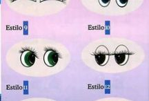 desenhos de olhos e bocas