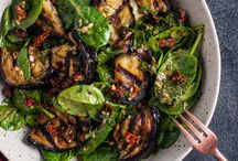 Spinach and grilled aubergine