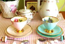 Romantic teacups, teapots and laces
