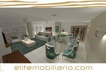 Sala 3D Render Design Interior EliteMobiliario / Sala comum em 3D elaborado e personalizado por EliteLine Mobiliario Moderno e Decoração de Interiores