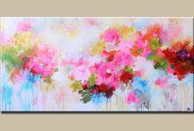 Toile abstrait fleur / Peinture