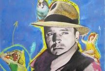 """Film Noir Paintings / Paper paintings based on """"Film Noir"""" movies,novels and stories."""