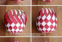 Bolas trançadas de Natal de papel
