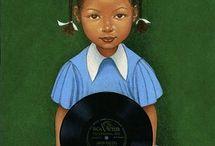 Cute Kids Black Art Print Collection